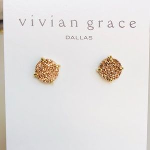 Jewelry - Rose Gold Drusy & 18k Gold Round Stud Earrings